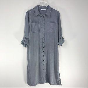 NY & Co. | Black & White Striped Shirt Dress